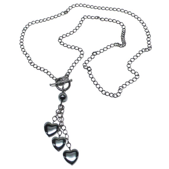 triple hematite heart gunmetal chain necklace