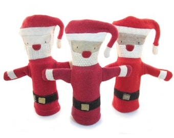 Cate and Levi Handmade Santa Hand Puppet (Premium Reclaimed Wool), Colors Will Vary