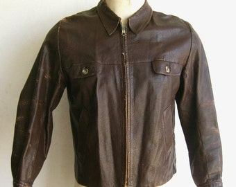 HOLIDAY SALE Vintage 40s 50s Brown Leather Zip Front Cafe Racer Motorcycle Horsehide Jacket size Large