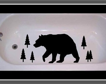 Non Skid Non Slip Bear and Trees for Tub or Shower