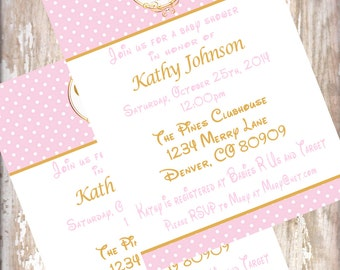 Minnie Mouse Pink and Gold Baby Shower Invitations birthday
