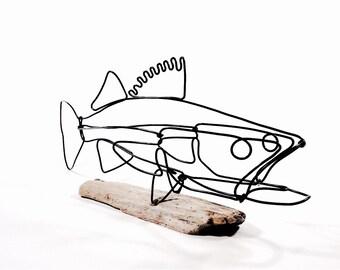 Walleye Fish Wire Sculpture. Fish Wire Art, Minimal Sculpture, 489057792