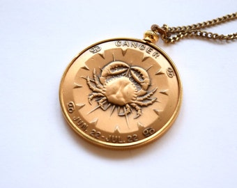 Vintage Zodiac Pendant / Cancer Horoscope Necklace c.1970s