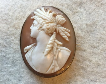 Victorian Cameo Brooch Ceres Demeter Carved Shell