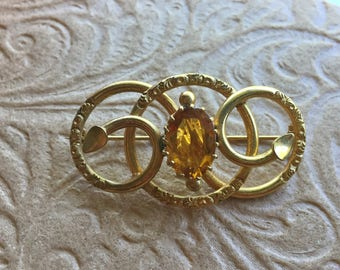 Victorian Love Knot Brooch with Citrine Paste Stone