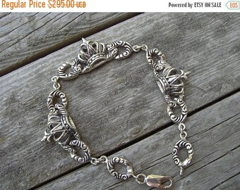 ON SALE Renaissance Crown bracelet in sterling silver