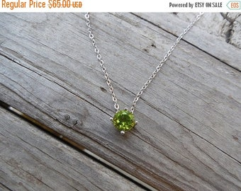 ON SALE Dainty Peridot necklace handmade in sterling silver