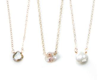 Silverite Teardrop Stone Necklace, Joy Dravecky, Dainty Gold Necklace, Delicate Gold Necklace, Layering Necklace