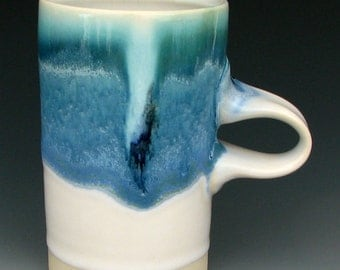 CERAMIC MUG #21 - Stoneware Mug - Tall Mug - Coffee Mug - Beer Mug - Pottery Mug - Blue Mug - Studio Pottery
