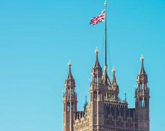 London Art, Photograph, British Parliament, England, Union Jack Flag, Cityscape, Travel Photo, Urban Landscape, Westminster, Architecture