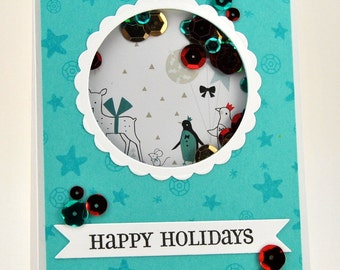 Happy Holidays Shaker Card