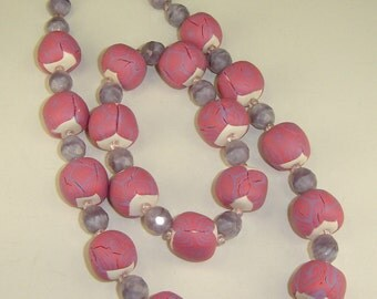Pink and Lilac Necklace and Bracelet of Polymer Clay and Czech Glass Beads