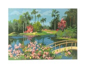Vintage Paint by Number Paintings, Craft Master Cypress Gardens, Mid Century Modern Decor, Garden Painting