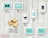 Aqua Blue Baby and Co Chocolate Nugget Labels- set of 30
