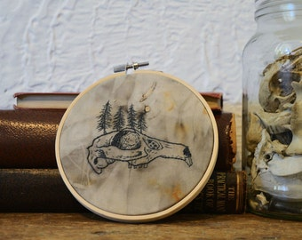 Rabbit Skull embroidery hoop