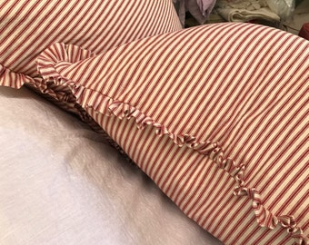 "Pair of Ruffled Pillow Slipcovers in RED Cotton Ticking Stripe-1"" Ruffled Detail-Two Pillow Shams-18x18-Other Sizes and Colors Available"