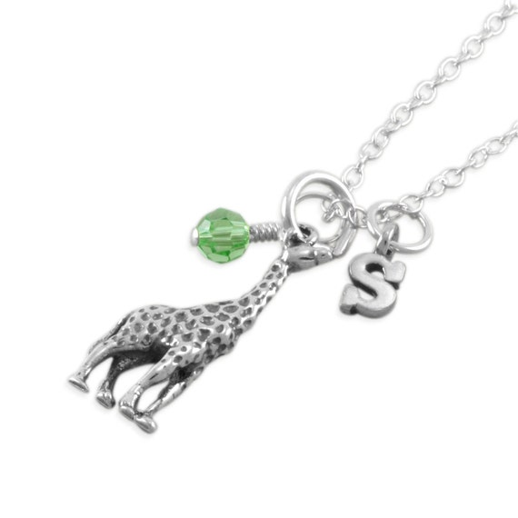 GIRAFFE Necklace, Little Girls Sterling Silver Necklace, childrens, child, birthday gift, initial, jewelry, personalized, SYBILL