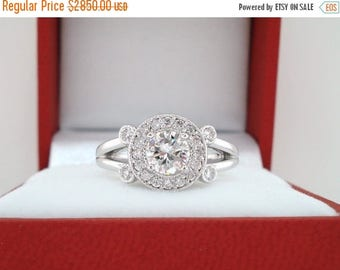 ON SALE Diamond Engagement Ring, Unique Bridal Ring 18k White Gold 0.93 Carat Halo Pave Certified Handmade