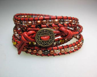 Red Leather, Bead and Brass Button Wrap Bracelet