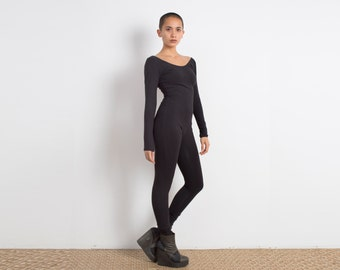 Black Catsuit - Jumpsuit - One Piece - Long Sleeve Leotard