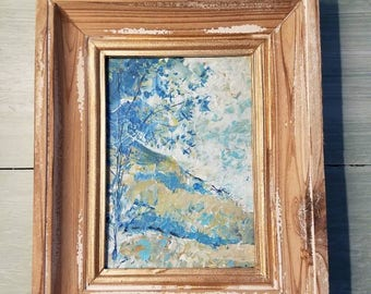 Tonal Impressionism Landscape Original Painting Blue Green Tree Hills with Frame