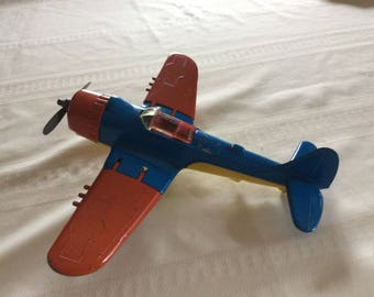 Vintage Hubley Kiddie Toy Plane Blue and Orange