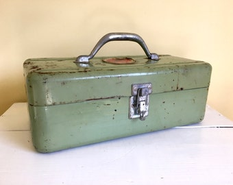 Vintage Green Metal Tool Box, Tackle Box, Simonsen Products, Industrial Decor, Art & Craft Storage