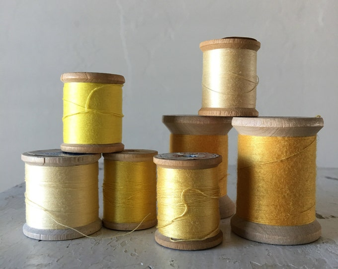 Vintage Wooden Spools Spring Summer Yellow Thread Lot