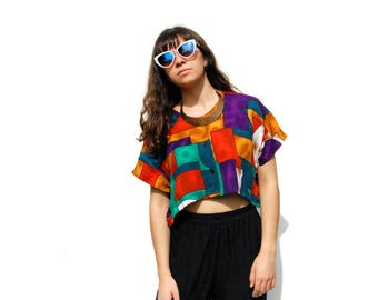 Bright rainbow colors abstract print short sleeve cropped blouse 1990s 90s VINTAGE
