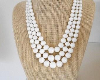 Vintage White Milk Glass Beaded Necklace
