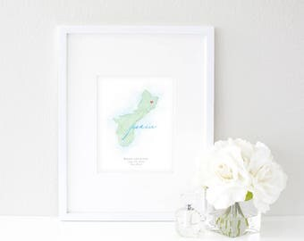 Guam Watercolor Map | Destination Map Print | Personalized Watercolor Map | Honeymoon Map | Anniversary Map | Watercolor Wedding Map