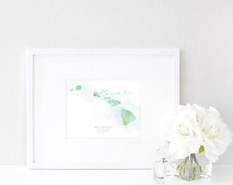 Hawaii Watercolor Map | Destination Map Print | Personalized Watercolor Map | Honeymoon Map | Anniversary Map | Watercolor Wedding Map