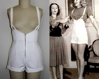 Norma Jeans Romper Overall Pinup Shorts- White High Waist 40s Style Made To Order All Sizes