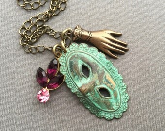 Masquerade Necklace - Mask Necklace - Drama Mask - Theatre Gifts - Masquerade Jewelry - Drama Jewelry - Marie Antoinette Jewelry