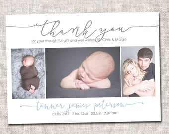 Birth announcement, baby boy announcement, baby announcement, thank you card, printable, girl birth announcement thank you card. 3 photo