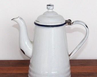 White Graniteware Teapot L&G Mfg