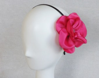 Thin Headband with Oversized Flower in Hot Pink Satin