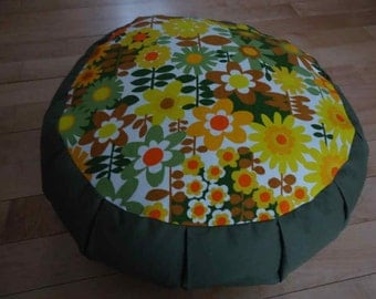 Meditation cushion, (Zafu), top circle out of a Floral Cotton Retro fabric and the sides and back out of a Sage color cotton twill fabric