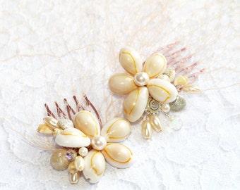 Seashells Hair Comb Beach Wedding Hair Accessory Shell Hair Comb Bridesmaids Bridal Birdcage Veil Bandeau Blush Peach Veil Wedding Blusher