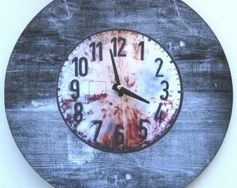 Wall clock. Unique wall clock. Large wall clock. Vinyl clock. Recycled vinyl record. Grunge clock.