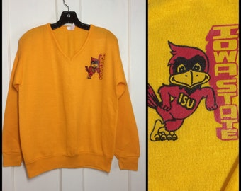 1970's V-neck sweatshirt size medium Iowa State University Hawk Eyes ISU College Football Sports Team bird mascot yellow made in USA