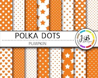 Polka Dots Digital Paper, Pumpkin, Orange, White, Dots, Hearts, Stars, Digital Paper, Digital Download, Scrapbook Paper, Digital Paper Pack