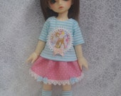 Super Dollfie Yo SD Littlefee Baby Pink Polka Dot Skirt Set - Deer