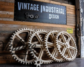 Vintage Industrial Giant Gear / Large Wooden Gear Mold
