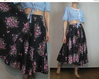 FALL SALE 40s FULL Circle Vintage Black Pink Mauve Green Cotton Floral High Waisted Pleated Midi Skirt xs Small 1940s
