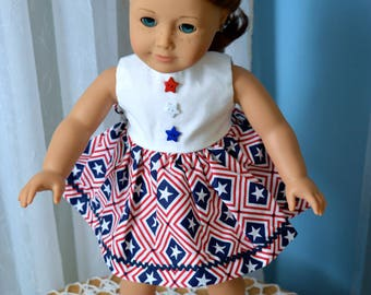 18 Inch Doll Clothes Two Piece Outfit Red White and Blue Star Print Sleeveless Dress and Matching Panties by SEWSWEETDAISY