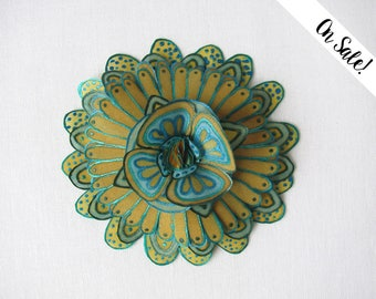 Hand painted silk flower brooch - mustard and teal - Statement brooch - Fantasy flower - ***Item on sale*** Previous price : 31.50 EUR