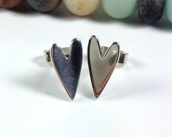 Sterling silver heart stud earrings, love tokens valentines gift