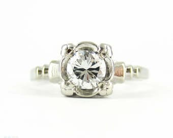1940s Diamond Engagement Ring, 0.43 ct Round Brilliant Cut Solitaire in Carved 14 Carat Gold Square Setting.