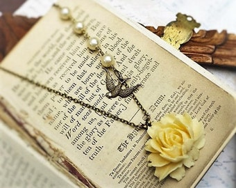 ON SALE Warm White Rose, Carved Cream Celluloid Rose & Vintage Pearls and Bird Sparrow Necklace by Hollywood Hillbilly